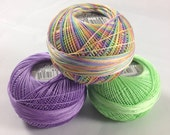 Lizbeth Tatting Thread - Size 20 - Handy Hands - Purple and Green Rainbow Taffy Three Pack - Colors 677, 632 and 153 - Your Choice of Amount