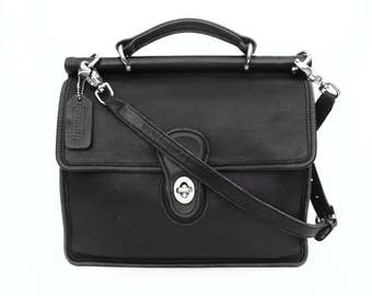 Black COACH leather Adjustable Crossbody Bag