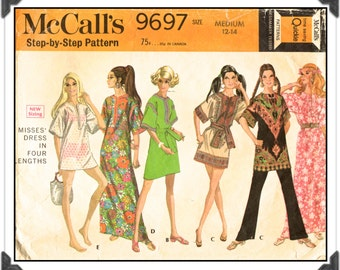 "McCALL'S Pattern 9697 - Misses' ""Time Saving Quickie"" Pullover A-Line Tunic or Panel Print Dress in Four Lengths - Sz Med 12-14 - Vtg 60s"