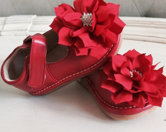 Toddler Red Leather Squeaky Mary Jane/red  flower baby girl shoes