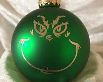 "Green ""Grinch"" glass Christmas Ornament, can also be personalized"