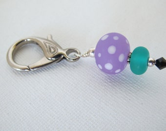 Purple with White Dots Sewing Scissor Fob