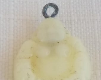 Vintage glass beads. BUDDHA pendant 1930s Antique JAPAN 18mm drop pale YELLOW opal (1)