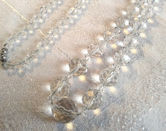 Vintage Cut Crystal Glass Bead Necklace, Art Deco, Strung on Chain.