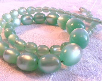Vintage Mint Green Moonglow Necklace with Hidden Clasp.