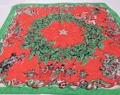 Vintage Silk Scarf by Earl Bernard, Christmas Scarf,Neck Wear,Accessory,Holiday Gift,Christmas Wreath,Carolers