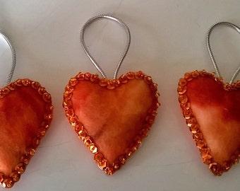 "Set of 3 Handmade Tie Dye Felt and Sequin Heart  Ornaments   2x2"" ORANGE"