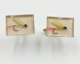 Fly Fishing Cufflinks Fishing Lure Cufflinks Men's Jewelry Signed Hickok Fisherman Cuff Links