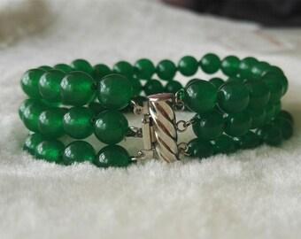 jade bracelet -green jade bracelet, 3 rows 8 mm jade bracelet