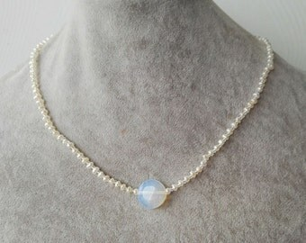 pearl necklace, baroque pearl necklace, 2-3 mm mini pearl & opal necklace, white freshwater pearl necklace