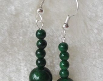 Jade Earrings- 4-10mm dark green jade dangle earrings, Free shipping