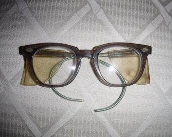 Titmus Vintage Safety Glasses, Titmus Wayfarer Industrial Protection Glasses, Mid Century Goggles