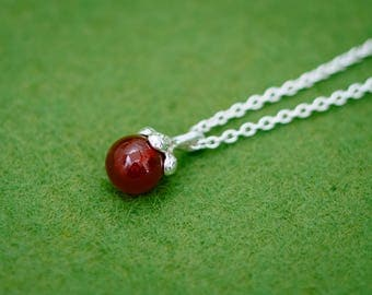Agate necklace - Pearl necklace - Mangosteen necklace - Pearl pendant and chain - Feminine design - Asian fruits with fresh water pearl