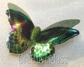 Lime green iridescent 3D resin butterfly