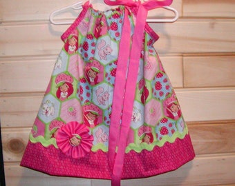 Strawberry Girl...Girls Pillowcase Dress Infant toddler sizes 0-6, 6-12, 12-18, 18-24 months, 2T, 3T..Bigger sizes AVAILABLE