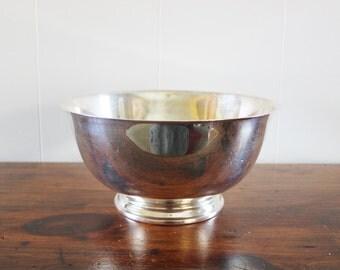 large paul revere style vintage silver plate bowl