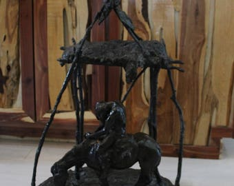 Kelly Pruitt Large Bronze Sculpture Where the Crow Cry – 1972