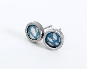 FREE SHIP Japanese handmade Washi paper tiny stud post earrings stainless steel TREE leaves