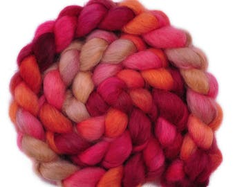 Hand painted spinning fiber - Wensleydale wool combed top roving - 4.2 ounces - Tense & Terse 1