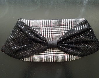 Bow Clutch - Silk Noil Houndstooth Plaid Body, Black Sequin Bow, Red Silk Lining, Black Zipper