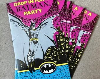 Vintage Early 90s BATMAN RETURNS Birthday Party Invitations (5 invites)