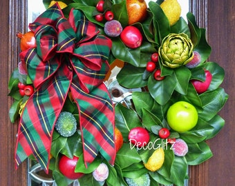 MAGNOLIA CHRISTMAS WREATH with Fruit and Plaid Bow