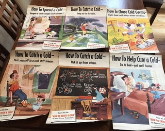 Collectible How to Catch a Cold Walt Disney Complete set of 6 posters