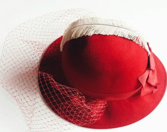 1950s Lancaster Red Bowler Hat