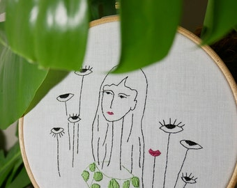 Hand embroidery, interior decoration,illustration, woman, eyes, dot