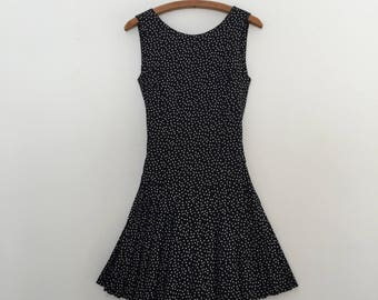 Vintage 80's Black & White Polka Dots Mini Dress S