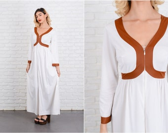 Vintage 70s White + Brown Mod Dress Striped Maxi Long sleeve Small S 8517