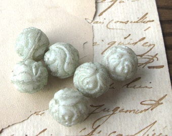 Opaque Mint Green Pressed Glass Rose Beads 13mm Czech Matte Finish New (6)