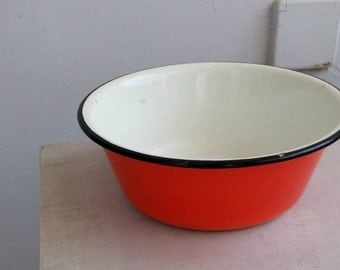 Orange Enamel Bowl, Soviet Enamelware, Mid Century Kitchenware, Vintage Rustic kitchen Display Small Salad Bowl, Soup Bowl, Farmhouse Decor