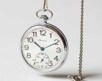 Retro men's pocket watch Molnija\ Lightning, sleek silver shade gent pocket watch, mechanical pocket watch wedding gift, elegant gents watch