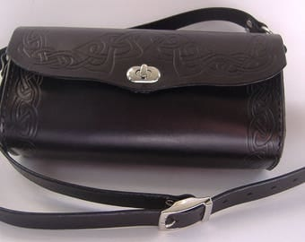 Black Celtic Border Crossbody Roll Bag