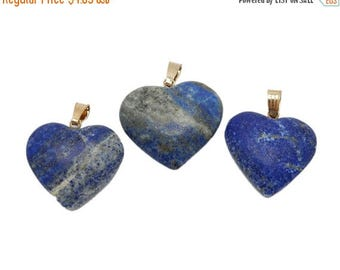 45% off Liquidation SALE Lapis Lazuli Tumbled Heart Pendant with Gold Plated Bail (S67B13-06)