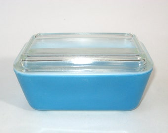 Pyrex Blue Primary Colors Refrigerator Dish - 1-1/2 Pint Leftover Jar No. 502 Lidded Box