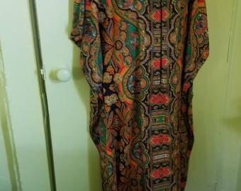 60s70s Exotic Paisley Boho Kaftan Caftan M/L