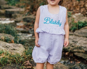 Girl's Custom Monogram Bubble -PURPLE & White -Summer outfit -Monogrammed Romper / Bubble- Birthday -Summer monogram -Beach outfit -Pictures