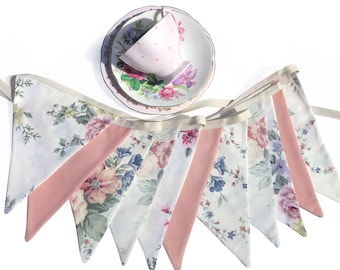 Vintage Bunting - Old Fashioned Country Roses & Lace Floral Flags . Garden Tea Party Decoration. Party Banner, Market Stall etc.