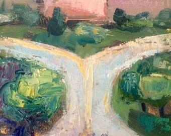 "Wonderful ""Vine Street Onramp"" Philadelphia Landscape cliff plein Air Oil Painting Expressionist impressionist"