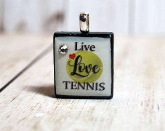 Live, Love, TENNIS Necklace - tennis pendant - sport jewelry - scrabble pendant - tennis charm - Scrabble jewelry