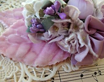 Antique Vintage Velvet Millinery Flowers Posy - #51