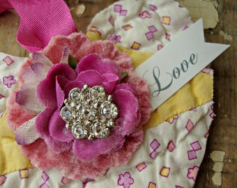 Handmade Vintage Quilt Heart Ornament with Vintage Millinery Flower and Rhinestone Accent