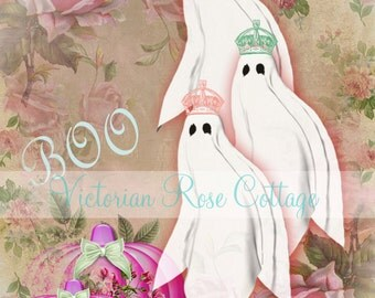 Shabby Chic Halloween Ghosts Fabric Block - Art Print