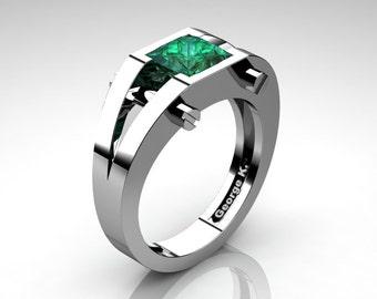 Modern 14K White Gold 1.25 Ct Princess Emerald Ring R394-14KWGEM