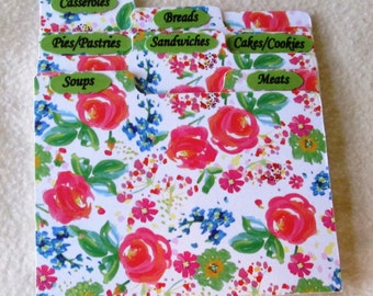 Recipe Box Dividers -Recipe Box Organizers -Floral - Index Cards - Kitchen Organizers - 5X7  or 4 X 6 -  Shower Gift