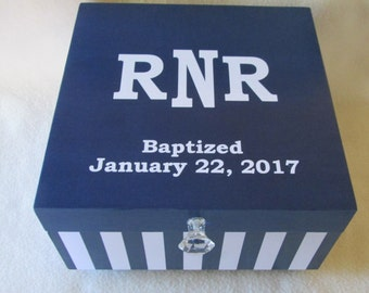 Large Memory Box - Keepsake Box - Navy Blue Keepsake Box - Navy Blue Striped Memory Box - Personalized - Gift