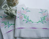 Vintage Hand Embroidery, Cotton Pillowcases Purple Crochet Edging, Pink Floral, Cutter Linens