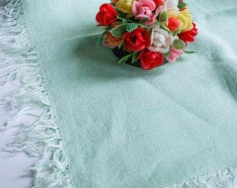 Soft Linen Fringed Tablecloth or Scarf, Mint Green